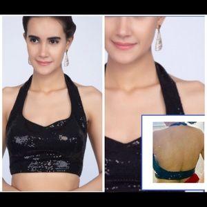 black halterneck sequin blouse with saree